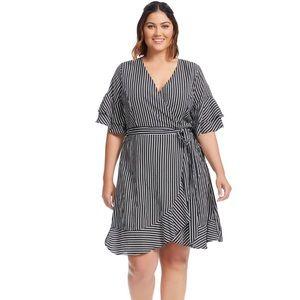 City Chic Black And White Stripe Faux Wrap Dress